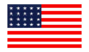 United States Historical Evolution of Old Glory Flag 20 Stars