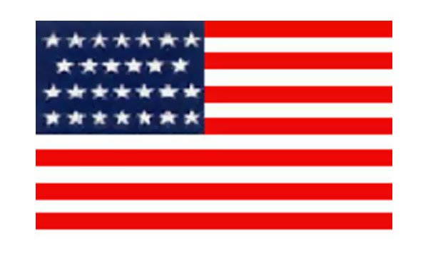 United States Historical Evolution of Old Glory Flag 27 Stars