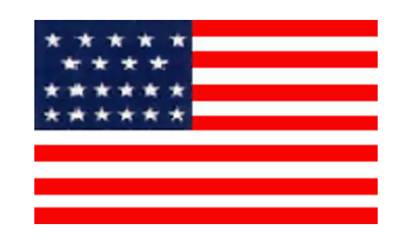 United States Historical Evolution of Old Glory Flag 21 Stars