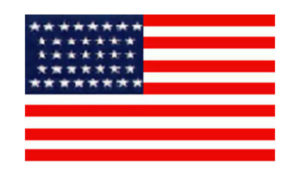 United States Historical Evolution of Old Glory Flag 38 Stars
